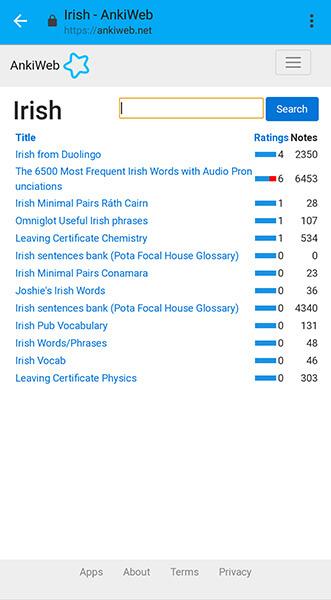 AnkiDroid app search Irish Allaboardthefraytrain